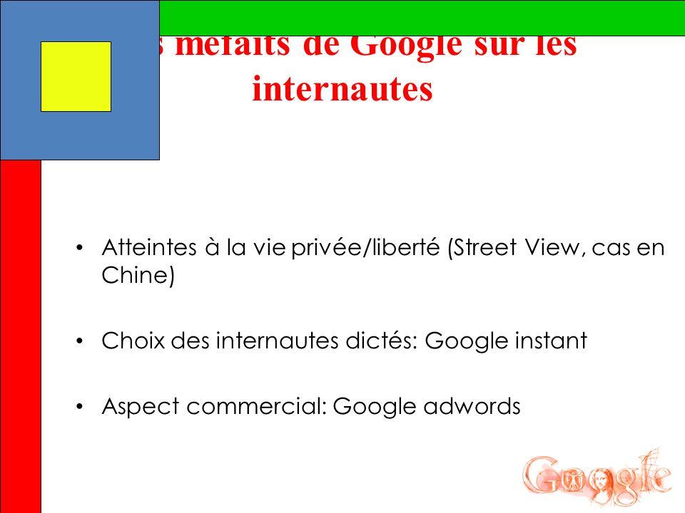 Les méfaits de Google sur les internautes Atteintes à la vie privée/liberté (Street View, cas en Chine) Choix des internautes dictés: Google instant A