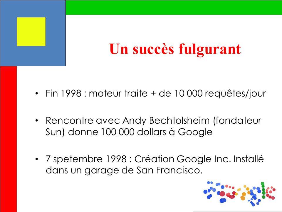 Un succès fulgurant Fin 1998 : moteur traite + de 10 000 requêtes/jour Rencontre avec Andy Bechtolsheim (fondateur Sun) donne 100 000 dollars à Google