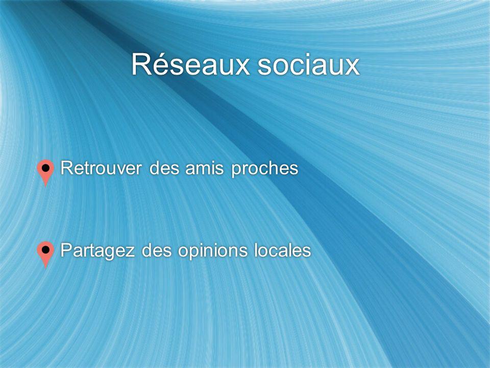 Réseaux sociaux Retrouver des amis proches Partagez des opinions locales Retrouver des amis proches Partagez des opinions locales