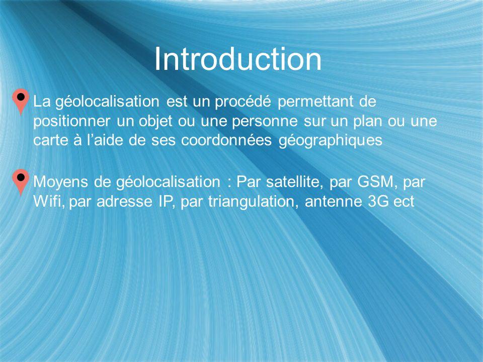 Introduction La géolocalisation est un procédé permettant de positionner un objet ou une personne sur un plan ou une carte à laide de ses coordonnées géographiques Moyens de géolocalisation : Par satellite, par GSM, par Wifi, par adresse IP, par triangulation, antenne 3G ect