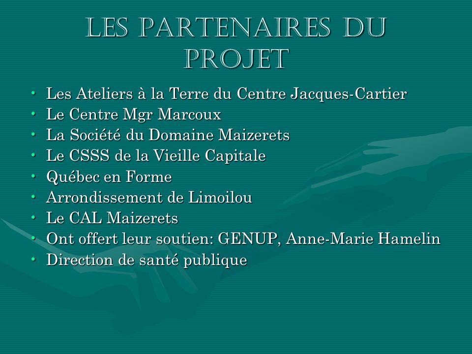 Les partenaires du projet Les Ateliers à la Terre du Centre Jacques-CartierLes Ateliers à la Terre du Centre Jacques-Cartier Le Centre Mgr MarcouxLe C