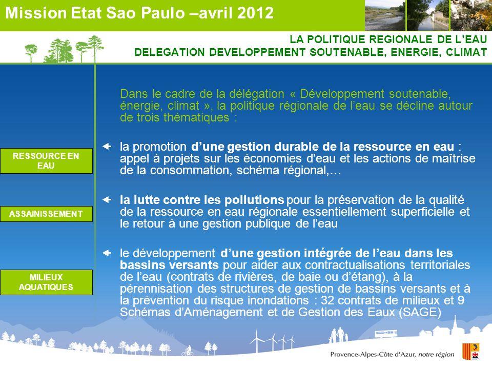 LA POLITIQUE REGIONALE DE LEAU DELEGATION DEVELOPPEMENT SOUTENABLE, ENERGIE, CLIMAT Dans le cadre de la délégation « Développement soutenable, énergie