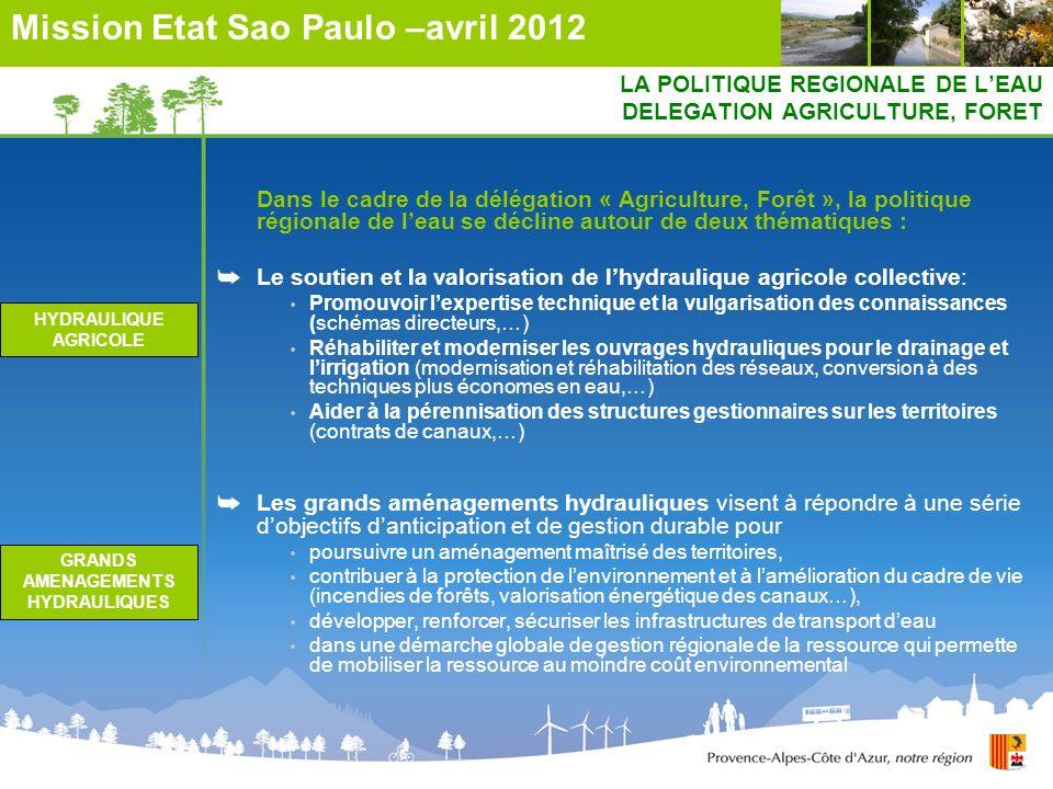 LA POLITIQUE REGIONALE DE LEAU DELEGATION AGRICULTURE, FORET Dans le cadre de la délégation « Agriculture, Forêt », la politique régionale de leau se