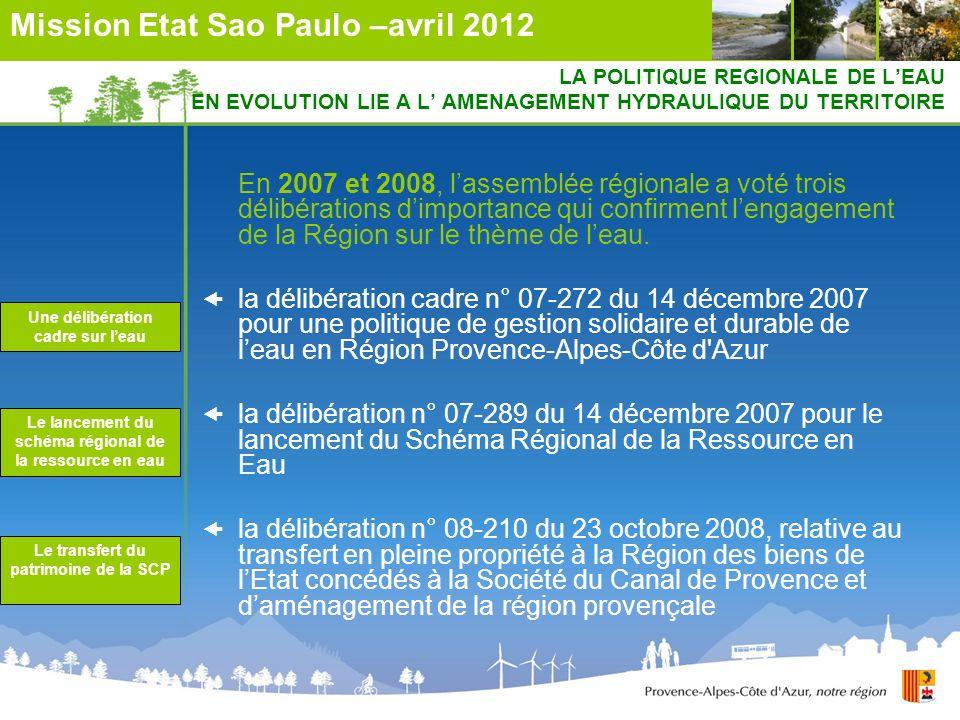 LA POLITIQUE REGIONALE DE LEAU EN EVOLUTION LIE A L AMENAGEMENT HYDRAULIQUE DU TERRITOIRE En 2007 et 2008, lassemblée régionale a voté trois délibérat