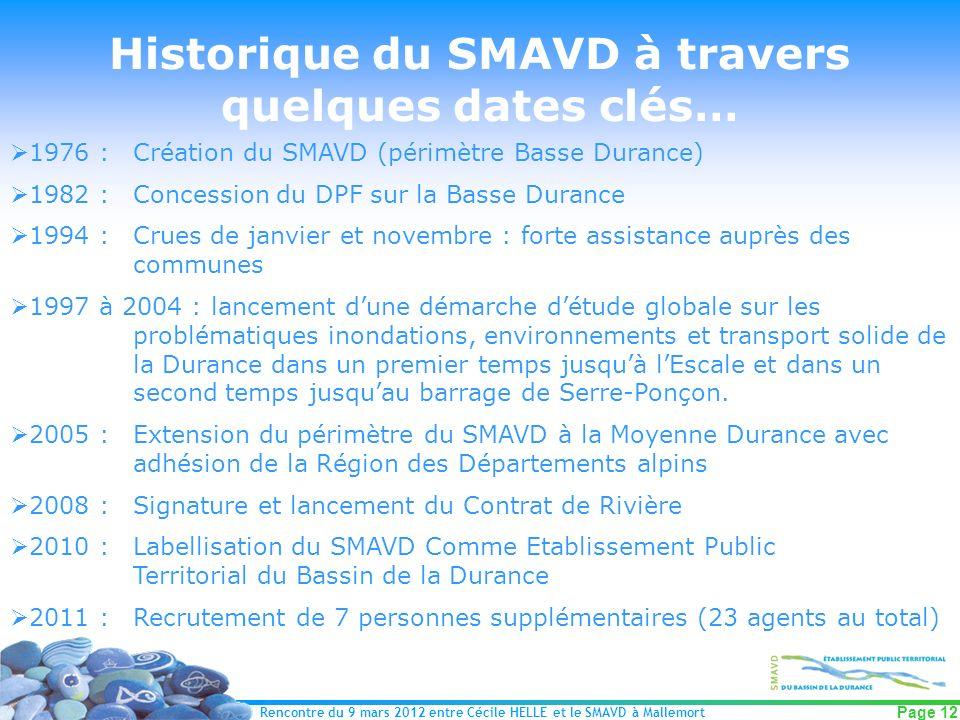 Rencontre du 9 mars 2012 entre Cécile HELLE et le SMAVD à Mallemort Page 12 Historique du SMAVD à travers quelques dates clés… 1976 :Création du SMAVD