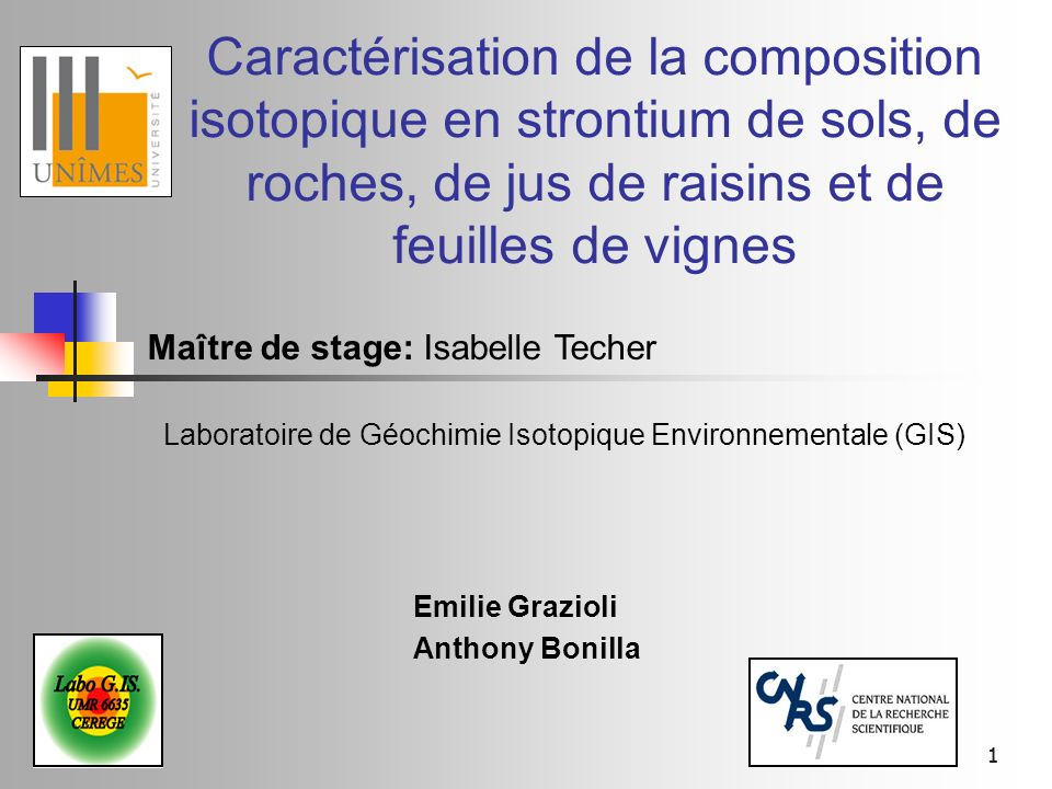 11 Caractérisation de la composition isotopique en strontium de sols, de roches, de jus de raisins et de feuilles de vignes Emilie Grazioli Anthony Bo