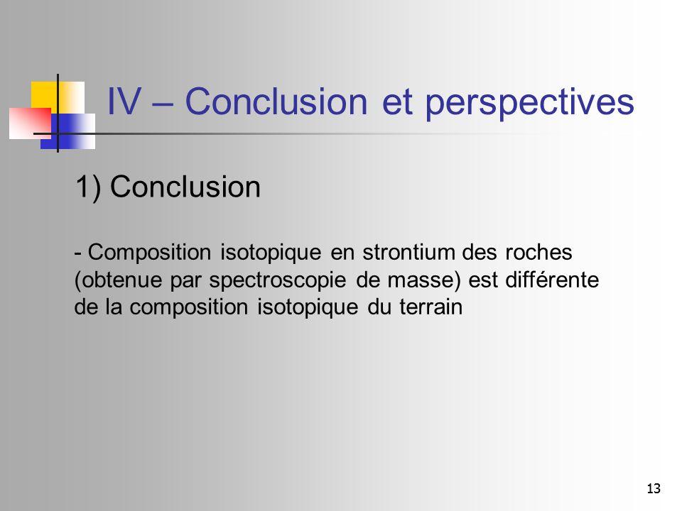 13 IV – Conclusion et perspectives - Composition isotopique en strontium des roches (obtenue par spectroscopie de masse) est différente de la composition isotopique du terrain 1) Conclusion
