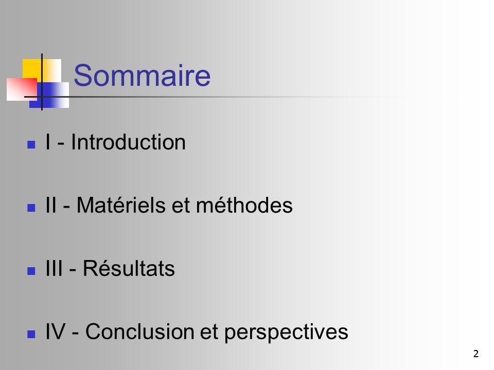 22 Sommaire I - Introduction II - Matériels et méthodes III - Résultats IV - Conclusion et perspectives