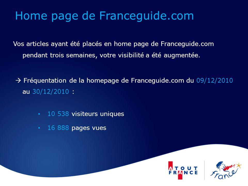 Home page de Franceguide.com Vos articles ayant été placés en home page de Franceguide.com pendant trois semaines, votre visibilité a été augmentée.