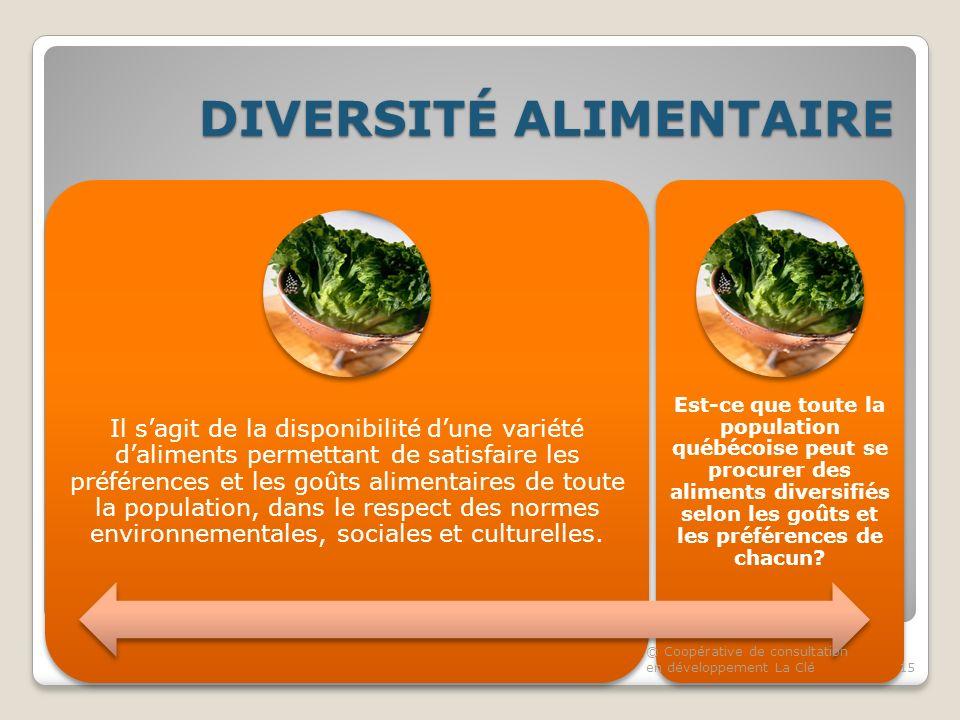 DIVERSITÉ ALIMENTAIRE Il sagit de la disponibilité dune variété daliments permettant de satisfaire les préférences et les goûts alimentaires de toute la population, dans le respect des normes environnementales, sociales et culturelles.