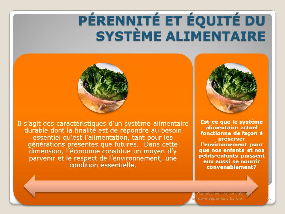 PÉRENNITÉ ET ÉQUITÉ DU SYSTÈME ALIMENTAIRE Il sagit des caractéristiques dun système alimentaire durable dont la finalité est de répondre au besoin essentiel quest lalimentation, tant pour les générations présentes que futures.
