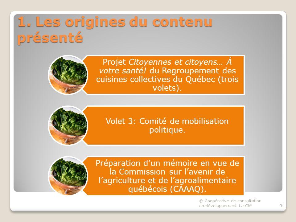 1. Les origines du contenu présenté Projet Citoyennes et citoyens… À votre santé.