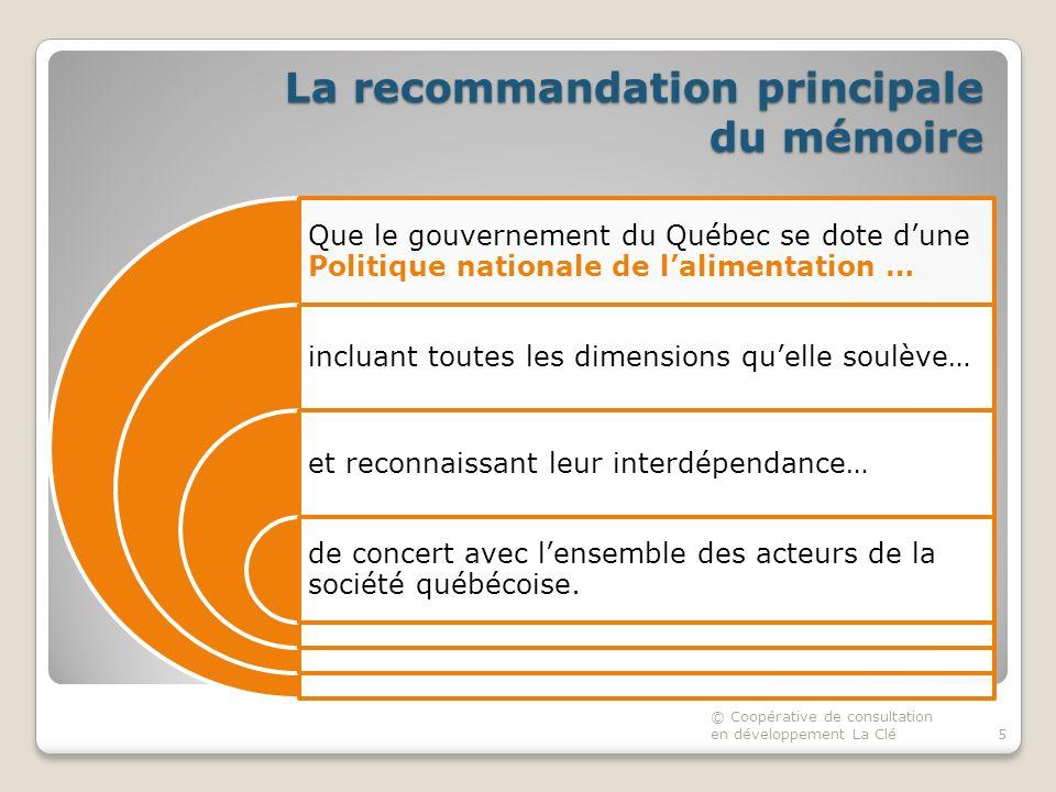 La recommandation principale du mémoire Que le gouvernement du Québec se dote dune Politique nationale de lalimentation … incluant toutes les dimensions quelle soulève… et reconnaissant leur interdépendance… de concert avec lensemble des acteurs de la société québécoise.