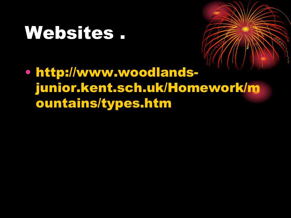 Websites. http://www.woodlands- junior.kent.sch.uk/Homework/m ountains/types.htm