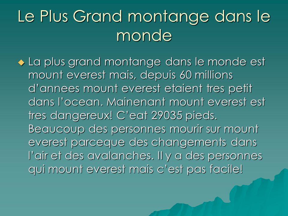 Le Plus Grand montange dans le monde La plus grand montange dans le monde est mount everest mais, depuis 60 millions dannees mount everest etaient tres petit dans locean.
