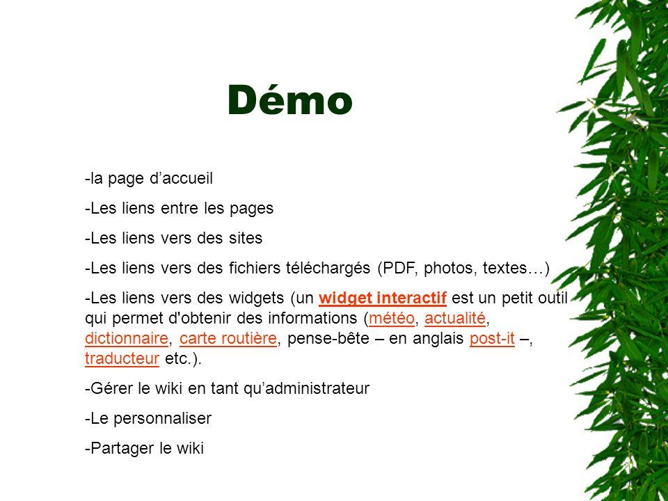 Démo -la page daccueil -Les liens entre les pages -Les liens vers des sites -Les liens vers des fichiers téléchargés (PDF, photos, textes…) -Les liens