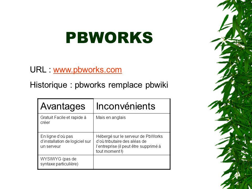 PBWORKS URL : www.pbworks.comwww.pbworks.com Historique : pbworks remplace pbwiki AvantagesInconvénients Gratuit Facile et rapide à créer Mais en angl