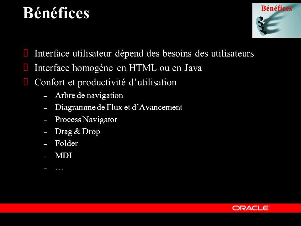 Bénéfices Interface utilisateur dépend des besoins des utilisateurs Interface homogène en HTML ou en Java Confort et productivité dutilisation – Arbre