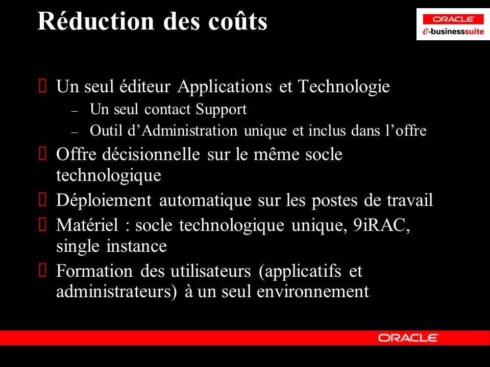Réduction des coûts Un seul éditeur Applications et Technologie – Un seul contact Support – Outil dAdministration unique et inclus dans loffre Offre d