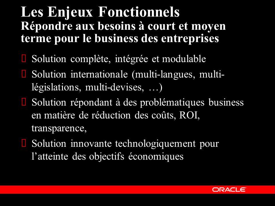 Les Enjeux Fonctionnels Répondre aux besoins à court et moyen terme pour le business des entreprises Solution complète, intégrée et modulable Solution