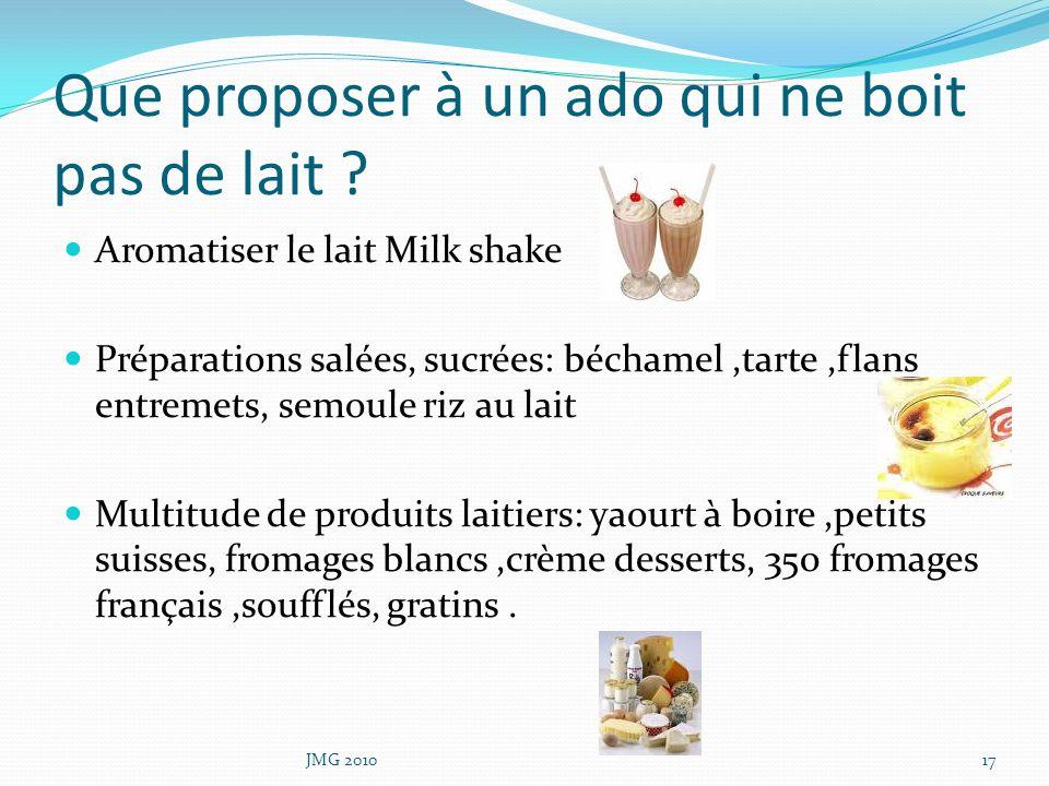 Que proposer à un ado qui ne boit pas de lait ? Aromatiser le lait Milk shake Préparations salées, sucrées: béchamel,tarte,flans entremets, semoule ri
