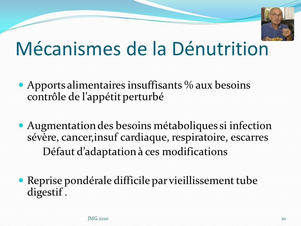 Mécanismes de la Dénutrition Apports alimentaires insuffisants % aux besoins contrôle de lappétit perturbé Augmentation des besoins métaboliques si in