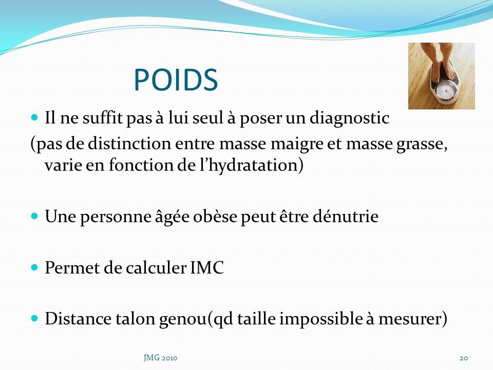POIDS Il ne suffit pas à lui seul à poser un diagnostic (pas de distinction entre masse maigre et masse grasse, varie en fonction de lhydratation) Une