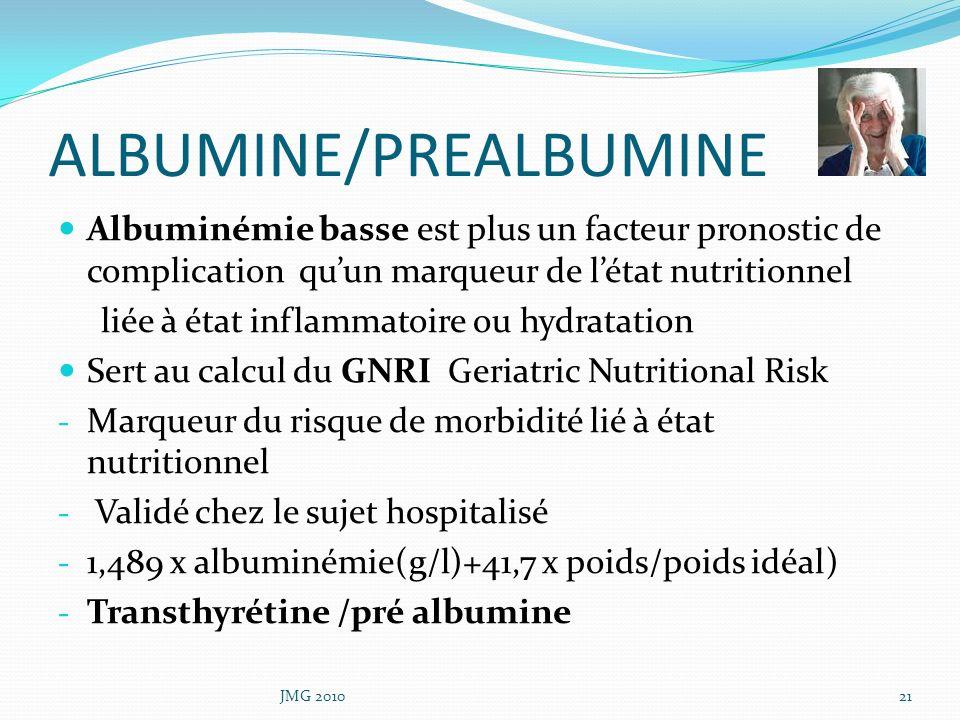 ALBUMINE/PREALBUMINE Albuminémie basse est plus un facteur pronostic de complication quun marqueur de létat nutritionnel liée à état inflammatoire ou