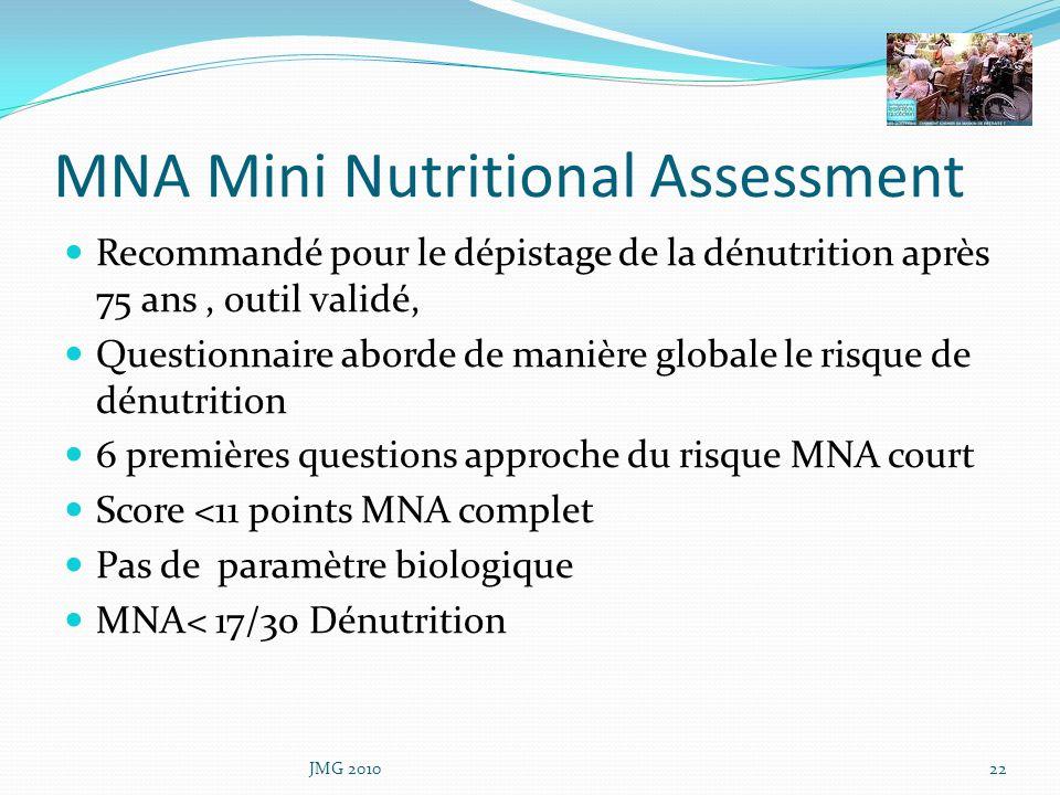 MNA Mini Nutritional Assessment Recommandé pour le dépistage de la dénutrition après 75 ans, outil validé, Questionnaire aborde de manière globale le