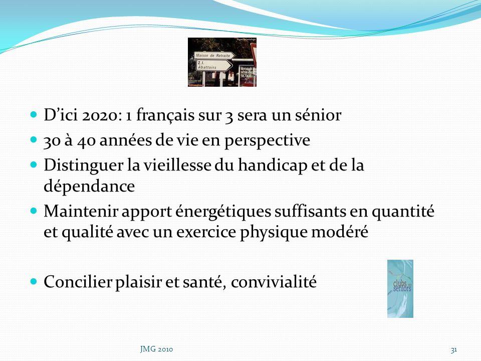 Dici 2020: 1 français sur 3 sera un sénior 30 à 40 années de vie en perspective Distinguer la vieillesse du handicap et de la dépendance Maintenir app
