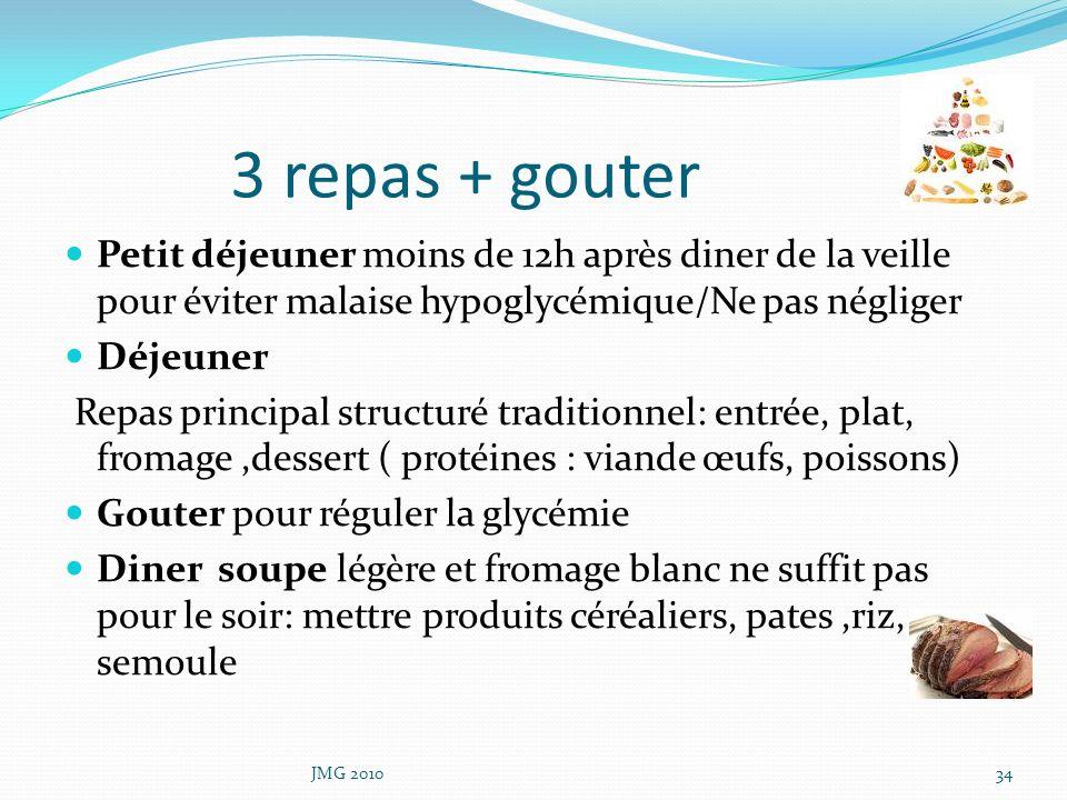 3 repas + gouter Petit déjeuner moins de 12h après diner de la veille pour éviter malaise hypoglycémique/Ne pas négliger Déjeuner Repas principal stru