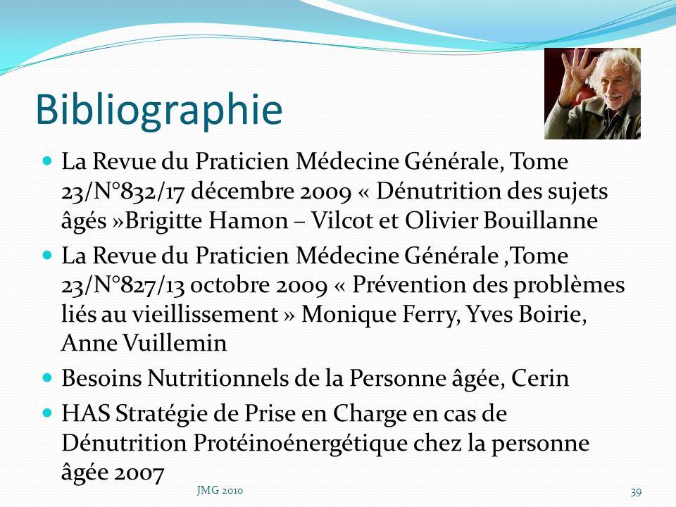 Bibliographie La Revue du Praticien Médecine Générale, Tome 23/N°832/17 décembre 2009 « Dénutrition des sujets âgés »Brigitte Hamon – Vilcot et Olivie