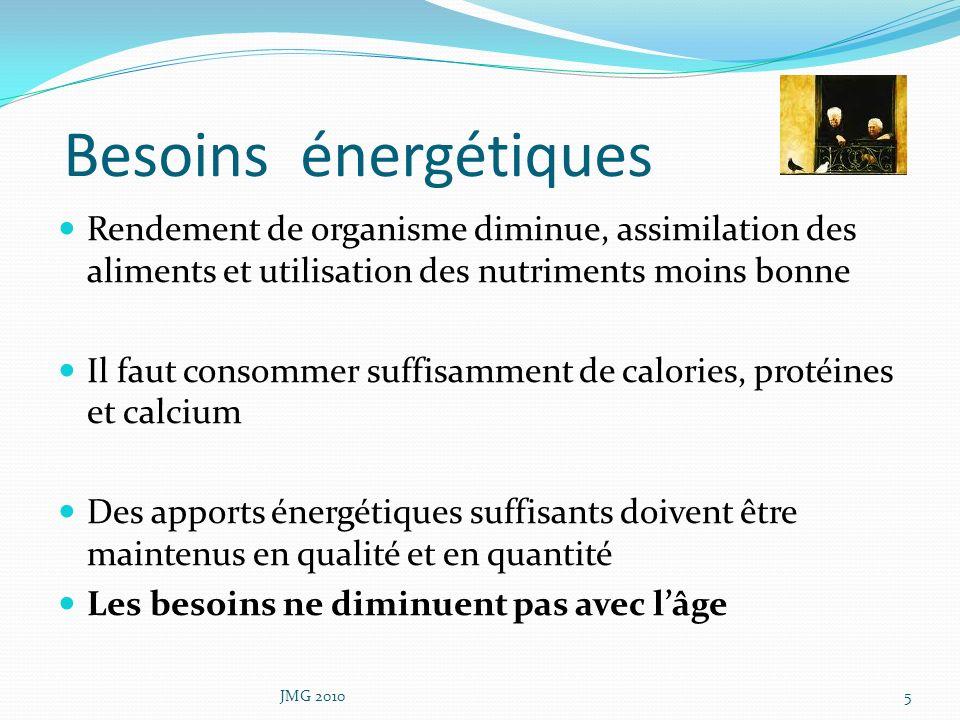 Besoins énergétiques Rendement de organisme diminue, assimilation des aliments et utilisation des nutriments moins bonne Il faut consommer suffisammen
