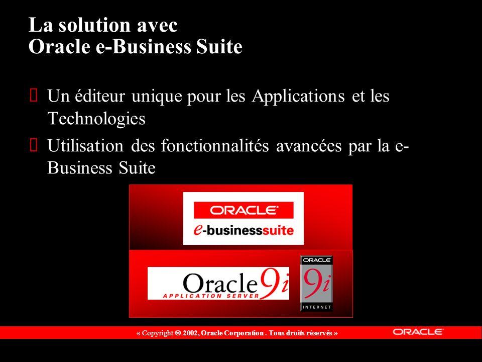 « Copyright 2002, Oracle Corporation. Tous droits réservés » La solution avec Oracle e-Business Suite Un éditeur unique pour les Applications et les T