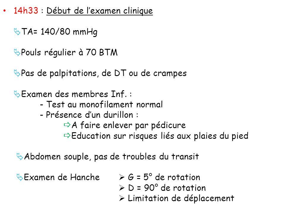 14h33 : Début de lexamen clinique TA= 140/80 mmHg Pouls régulier à 70 BTM Pas de palpitations, de DT ou de crampes Examen des membres Inf. : - Test au