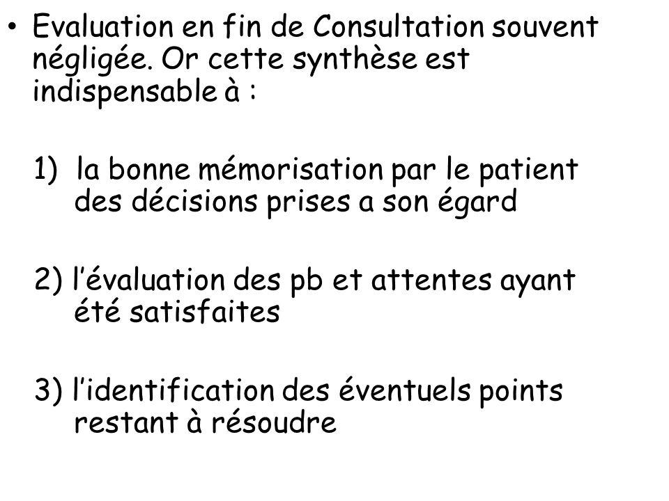 Evaluation en fin de Consultation souvent négligée. Or cette synthèse est indispensable à : 1) la bonne mémorisation par le patient des décisions pris