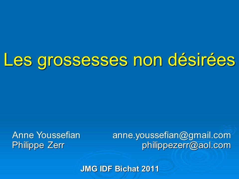 Les grossesses non désirées Anne Youssefian anne.youssefian@gmail.com Philippe Zerr philippezerr@aol.com JMG IDF Bichat 2011