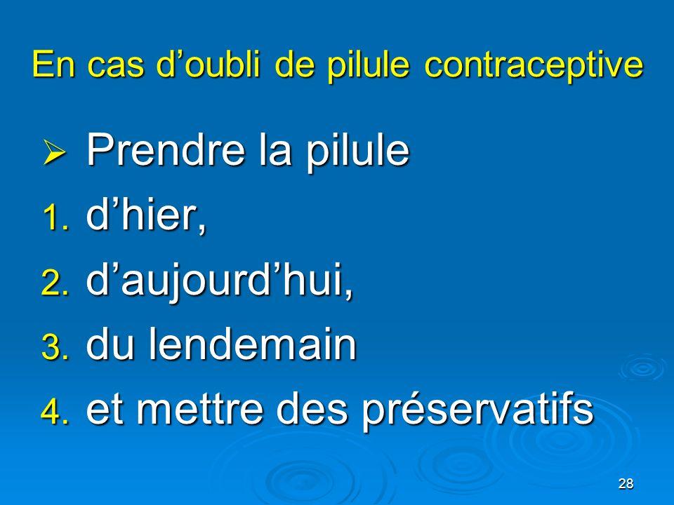 28 En cas doubli de pilule contraceptive Prendre la pilule Prendre la pilule 1. dhier, 2. daujourdhui, 3. du lendemain 4. et mettre des préservatifs