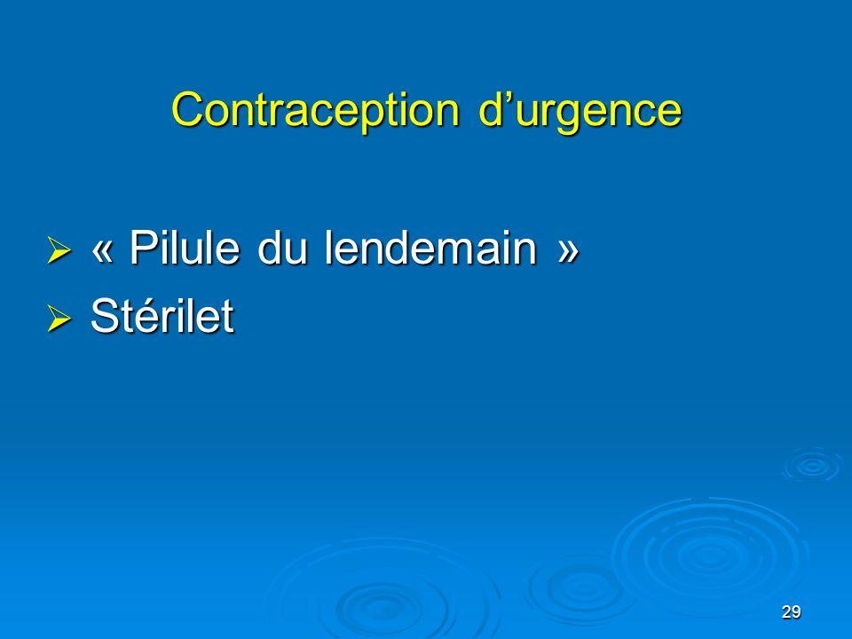 29 Contraception durgence « Pilule du lendemain » « Pilule du lendemain » Stérilet Stérilet