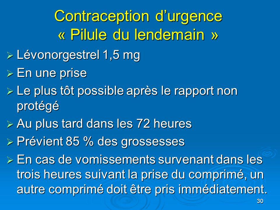 30 Contraception durgence « Pilule du lendemain » Lévonorgestrel 1,5 mg Lévonorgestrel 1,5 mg En une prise En une prise Le plus tôt possible après le