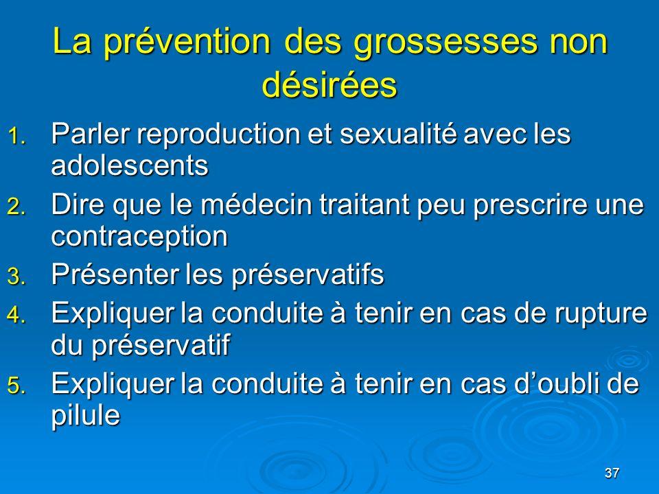 37 La prévention des grossesses non désirées 1. Parler reproduction et sexualité avec les adolescents 2. Dire que le médecin traitant peu prescrire un