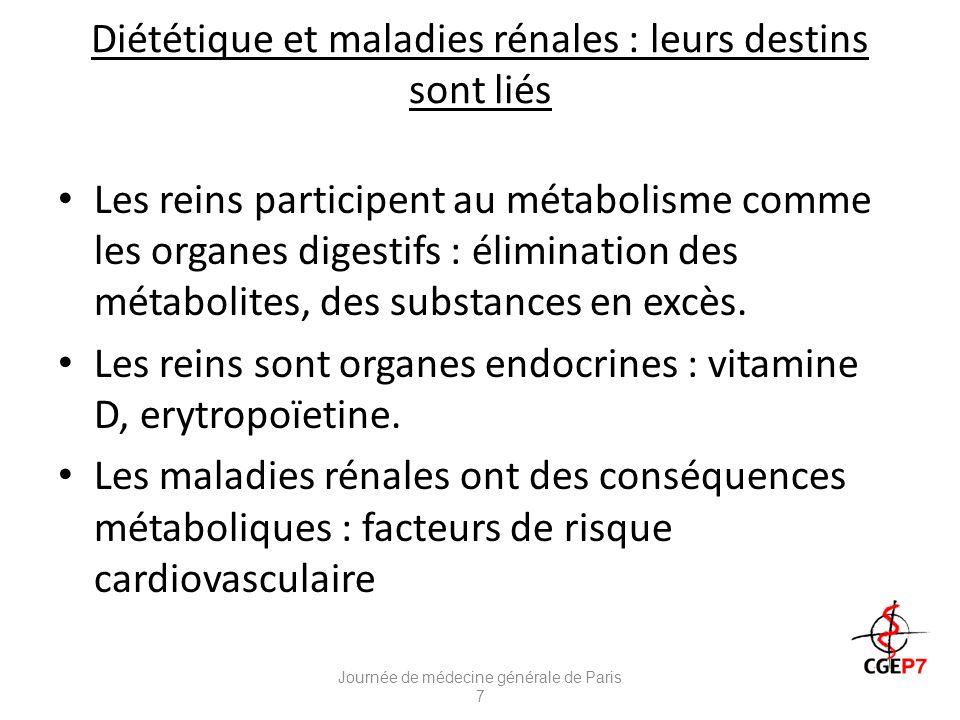 Diététique et maladies rénales : leurs destins sont liés Les reins participent au métabolisme comme les organes digestifs : élimination des métabolites, des substances en excès.