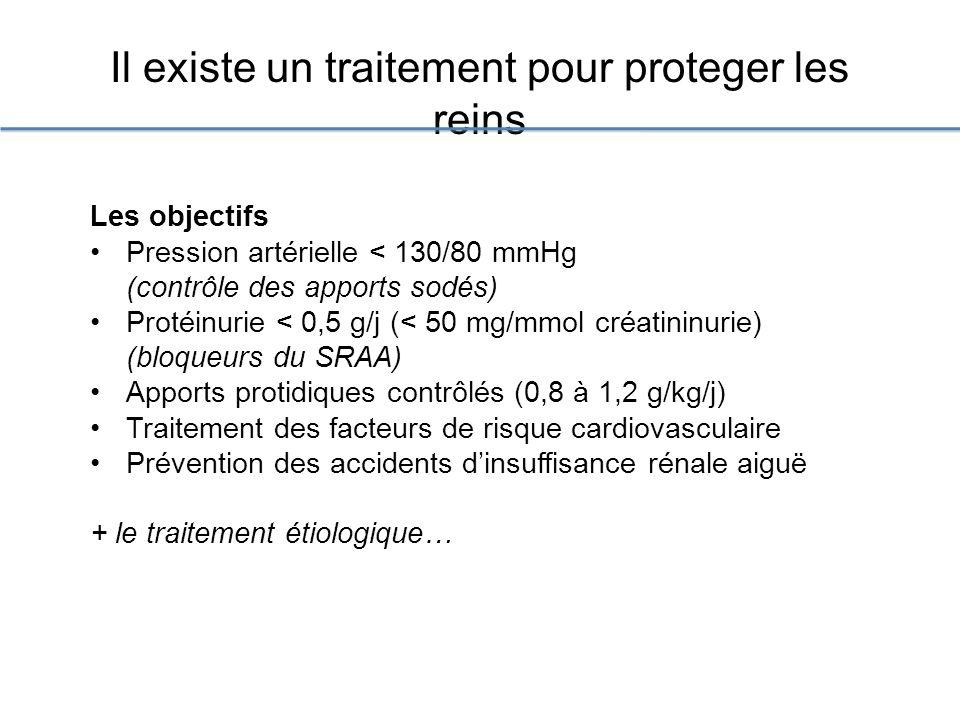 Il existe un traitement pour proteger les reins Les objectifs Pression artérielle < 130/80 mmHg (contrôle des apports sodés) Protéinurie < 0,5 g/j (< 50 mg/mmol créatininurie) (bloqueurs du SRAA) Apports protidiques contrôlés (0,8 à 1,2 g/kg/j) Traitement des facteurs de risque cardiovasculaire Prévention des accidents dinsuffisance rénale aiguë + le traitement étiologique…