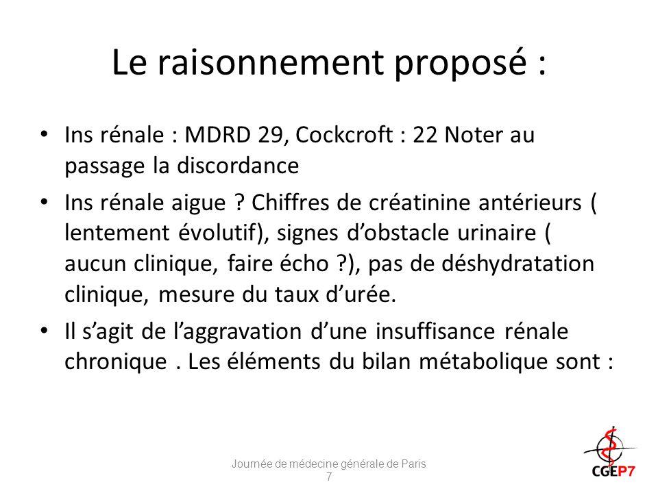 Le raisonnement proposé : Ins rénale : MDRD 29, Cockcroft : 22 Noter au passage la discordance Ins rénale aigue .