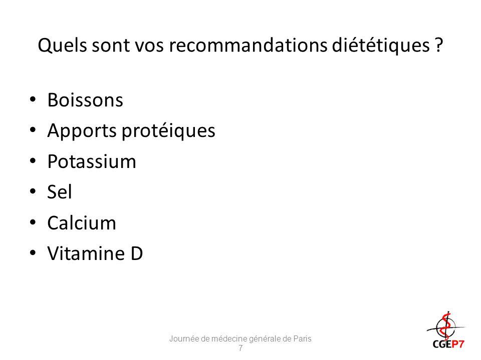 Quels sont vos recommandations diététiques .