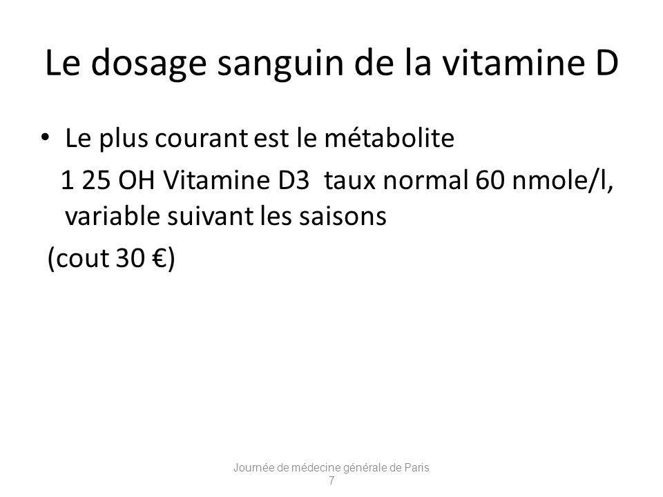 Le dosage sanguin de la vitamine D Le plus courant est le métabolite 1 25 OH Vitamine D3 taux normal 60 nmole/l, variable suivant les saisons (cout 30 ) Journée de médecine générale de Paris 7