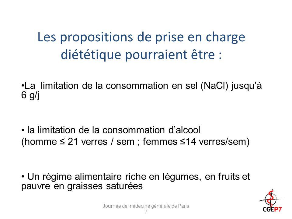 Les propositions dhygiène de vie réduction du poids en cas de surcharge pondérale (objectif IMC< 25 ou baisse de 10 % du poids initial) activité physique régulière (au moins 30 min environ, 3 fois par semaine) sevrage tabagique Journée de médecine générale de Paris 7