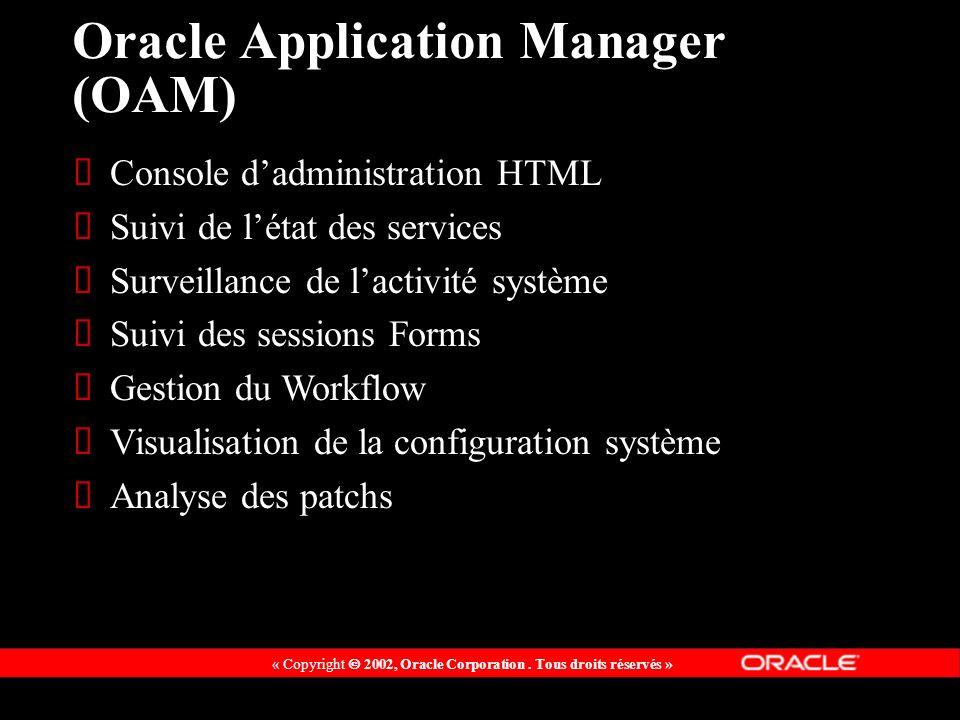 « Copyright 2002, Oracle Corporation. Tous droits réservés » Oracle Application Manager (OAM) Console dadministration HTML Suivi de létat des services