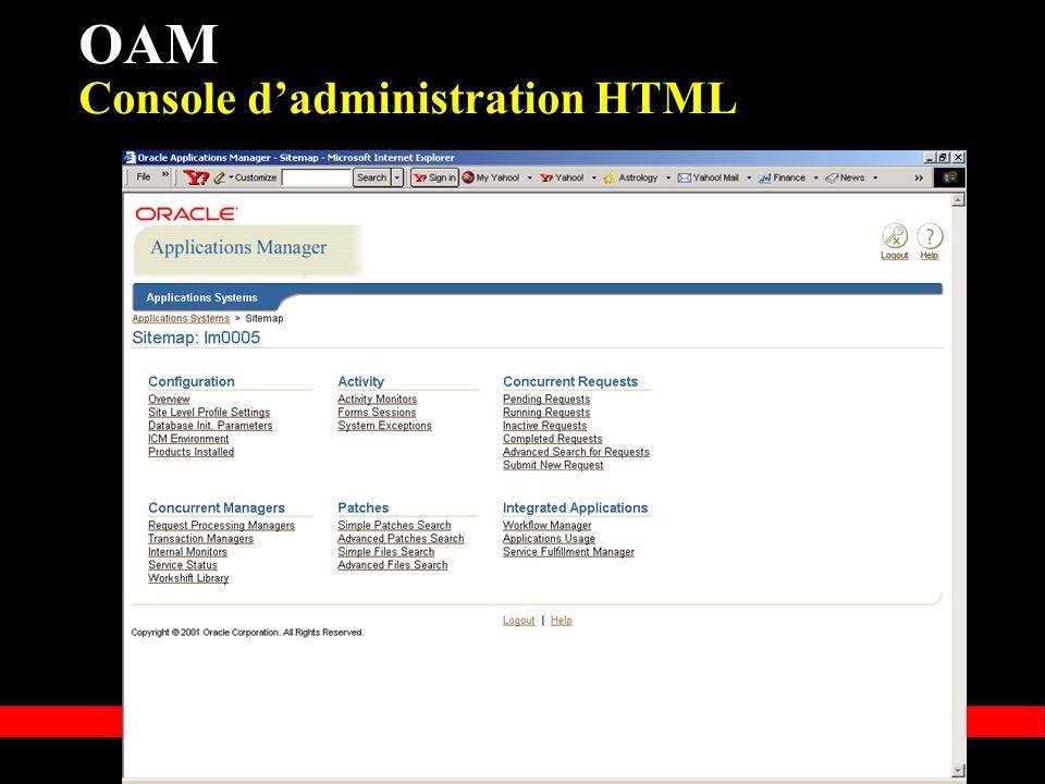 « Copyright 2002, Oracle Corporation. Tous droits réservés » OAM Console dadministration HTML