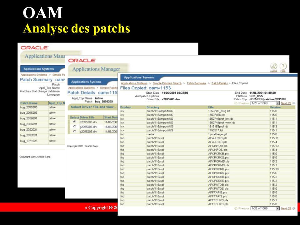 « Copyright 2002, Oracle Corporation. Tous droits réservés » OAM Analyse des patchs
